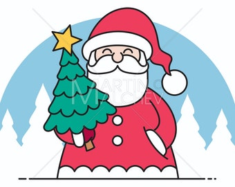 Santa Flat Design - Vector Cartoon Clipart Illustration. santa claus, cute, christmas, clip art, thin, linear, element, decoration, line art