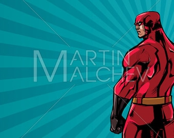 Superhero Back No Cape Ray Light - Vector Illustration. man, hero, cape, super, character, abstract, background, copy space, copyspace,