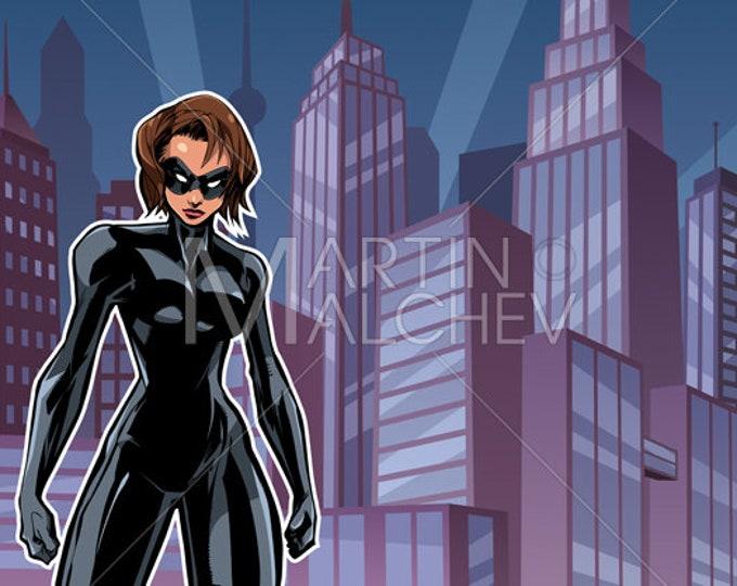 Superheroine Battle Mode City - Vector Illustration. woman, girl, female, super, heroine, superhero, hero, cityscape, landscape, background