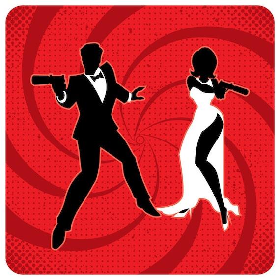 Spy Couple Vector Cartoon Illustration Secret Agent Couple Family 007 Man Woman Detective James Bond Silhouette Clip Art