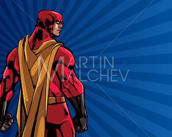 Superhero Back Ray Light Background - Vector Illustration. man, hero, cape, super, character, abstract, copy space, copyspace, light, ray