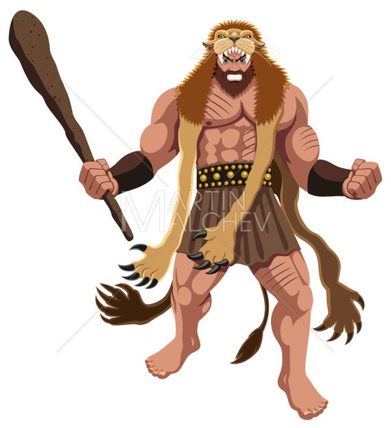 Heracles On White Vector Cartoon Illustration Hercules Hero Semi God Demigod Deity Man Character Roman Greek Mythology Fantasy