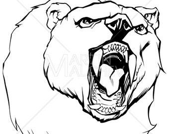 Bear Head - Vector Cartoon Illustration. grizzly, russian, siberian, predator, animal, angry, beast, wild, head, face, portrait, mascot