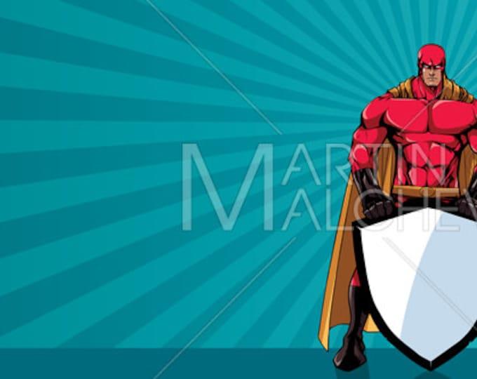 Superhero Holding Shield Ray Light Horizontal - Vector Illustration. super, hero, man, security, abstract, background, sunlight, copy space