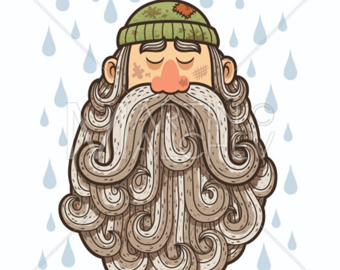 Beggar - Vector Illustration. bearded, beard, homeless, begging, desperate, depressed, bankruptcy, crisis, financial, broke, poor, sad,