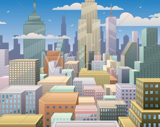 Cityscape Day - Vector Cartoon Illustration. city, skyline, metropolis, downtown, center, background, horizontal, skyscraper, landscape,