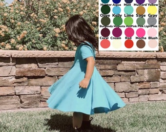 Baby Dress, Toddler Dress, Kids dress, Girls dress, baby twirl dress, toddler twirl dress, girls twirl dress Solid Twirl Dress