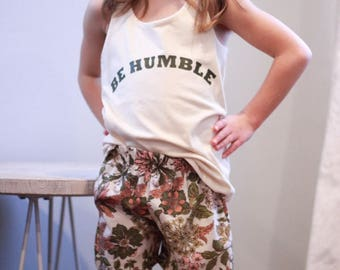 Floral shorts with BE Humble quote shirt  set or sold seperate