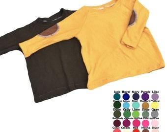 U PICK COLOR Long Sleeve Plain or Elbow Patch Shirt