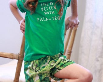 Tropical shorts with Palm tree quote shirt  set or sold seperate
