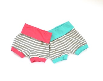 Stripe with Coral or aqua Accent Shorties  and Top as a set or sold seperate