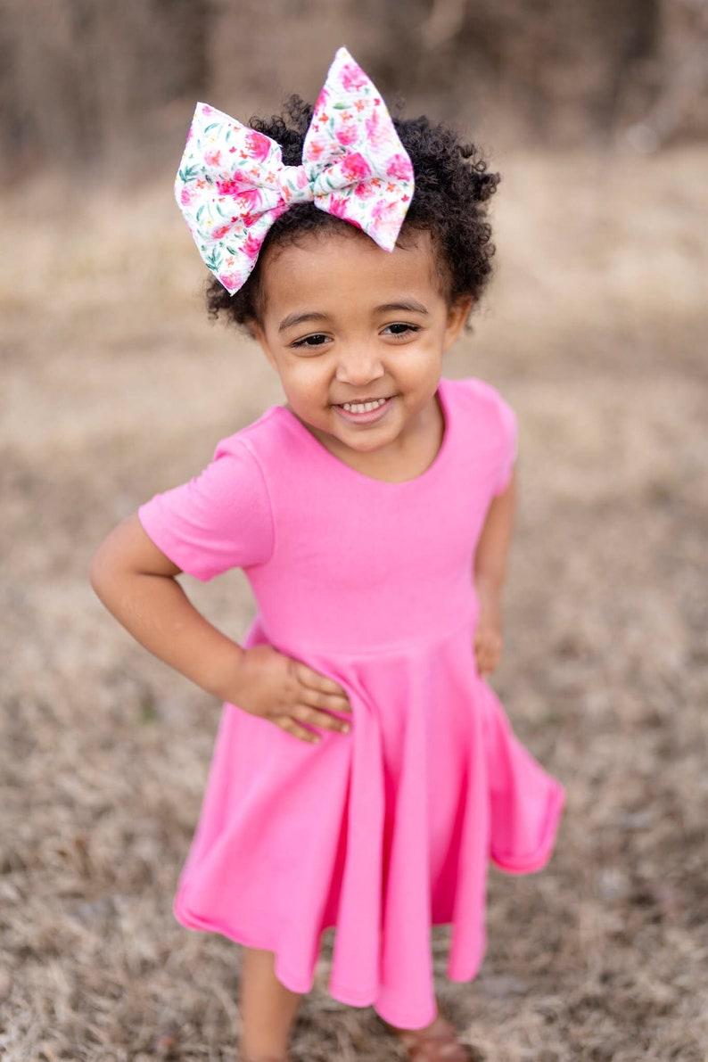 or HI LO Peplum   girls toddlers and baby Twirl dress pink  U-PICK style and sleeve length Peplum
