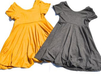 U- PICK COLOR Toddler Twirl Dress Twirl dress Baby Twirl Dress  Gray  Black / Navy / Yellow / Pink / Burgundy / Mint