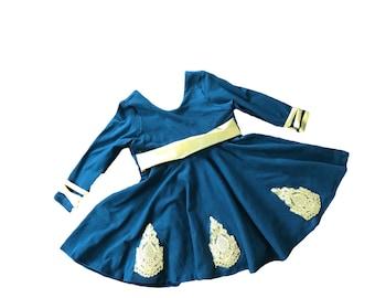 Merida brave Princess Twirl Dress with gold trim
