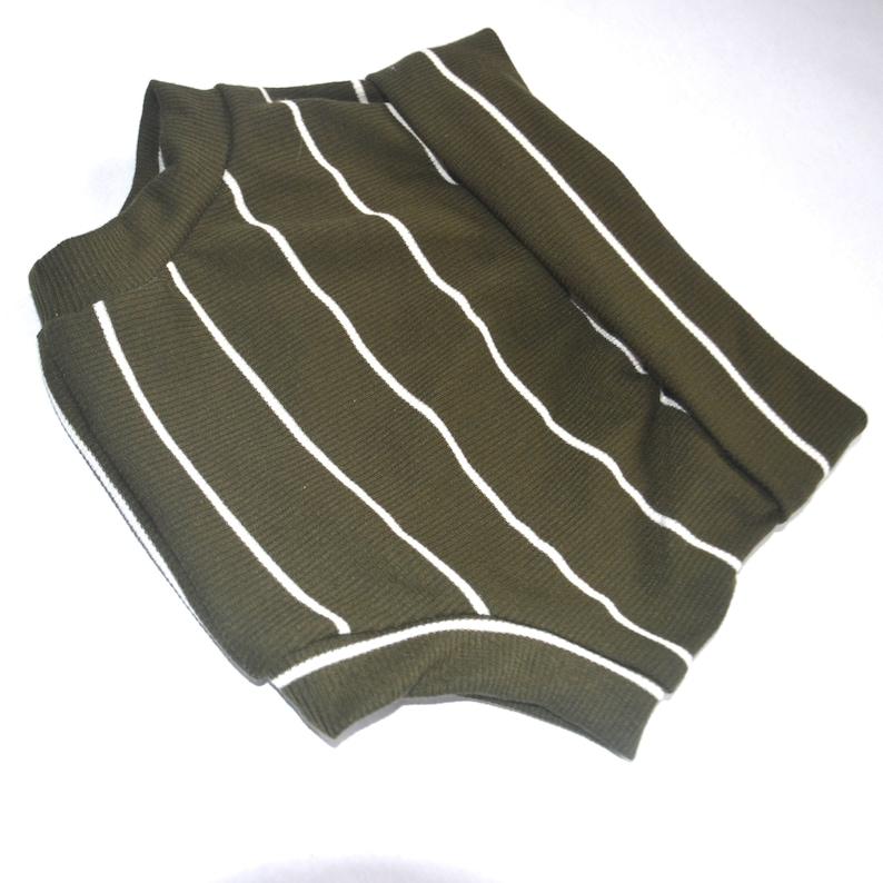 Olive stripe ribbed Bummies Foldover yoga waist band