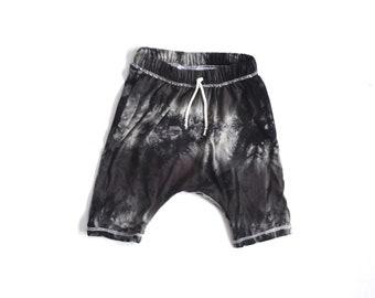 Monochrome Tie Dye print  drawstring harem shorts