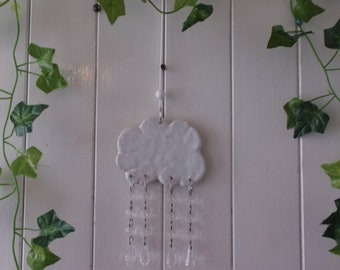 Hanging Rain Cloud Mobile with Falling Raindrops, Crystal Rain Drops, Handcrafted, Ceramic