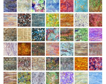 Origami paper with marbled patterns - 15x15cm - 42 sheets 42 patterns - special kit