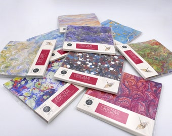 Origami paper with marbled patterns - 15x15cm - 40 sheets - 9 patterns - kit 1