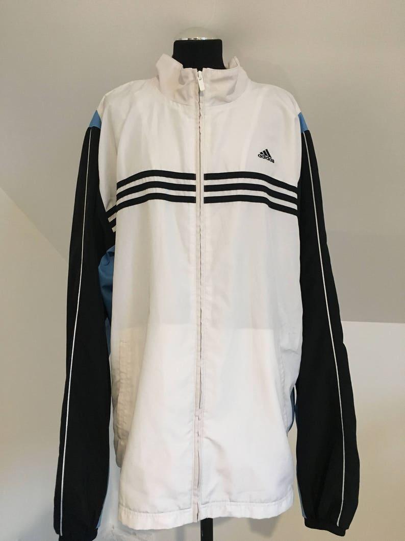 Adidas Herren XL Windbreaker weiß und schwarz blau guter Zustand, Extra große Adidas Jacke