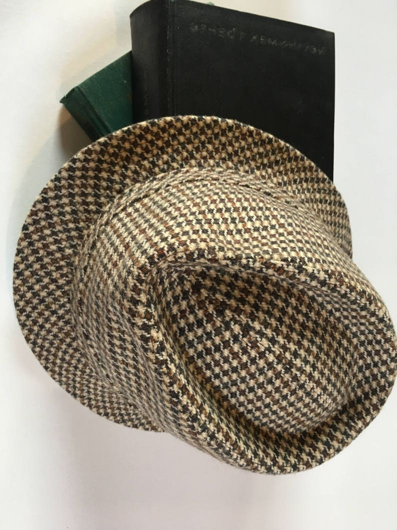 97124356c Vintage Checkered Fedora Hat Hute Brown Excellent Condition