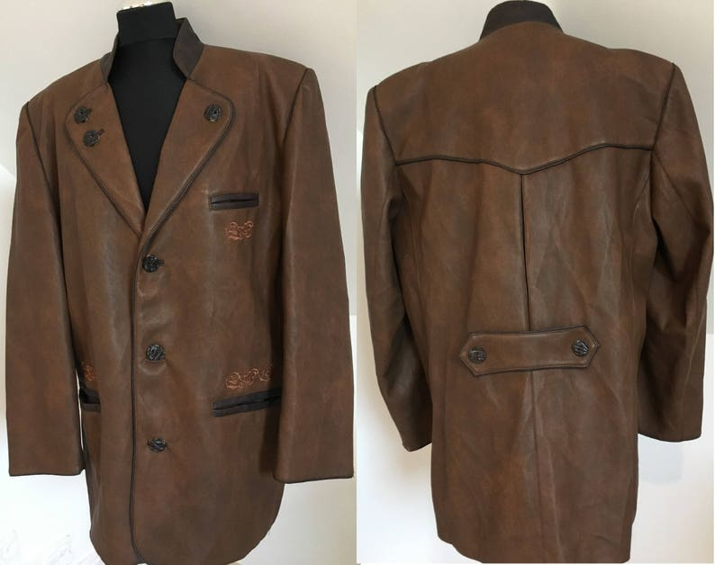 finest selection 7bb62 2764b Mens Landhausmode Brown Jacket Leather Imitation Excellent Condition