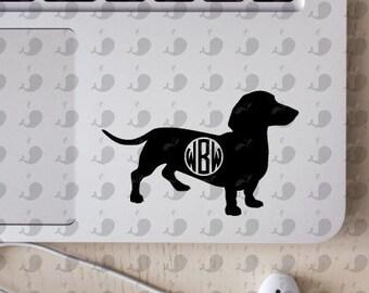 Dachshund Monogram Decal, Weenie Dog Monogram Decal