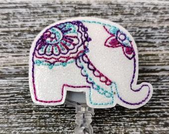 Mandala Elephant Badge Reel Mandala Badge Holder Pink And Aqua Mandala Elephant Badge Holder