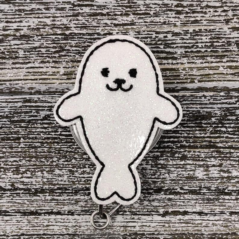 White Glitter Vinyl Seal Badge Holder Seal Badge Holder Pediatric Badge Holder
