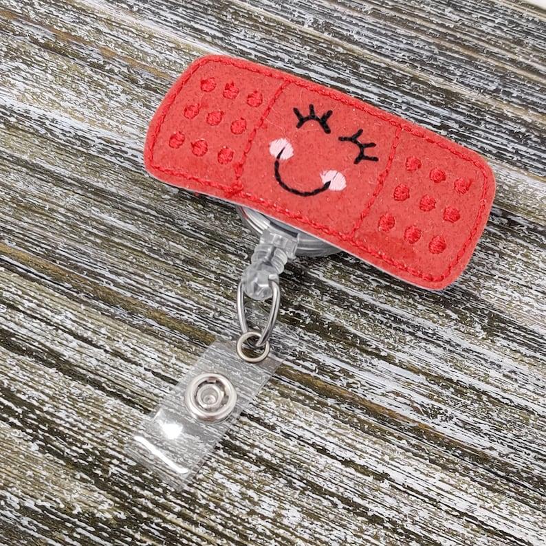 Red Glitter Vinyl Bandage Badge Holder Pediatric Badge Holder Red Bandage Badge Holder Bandage Badge Holder