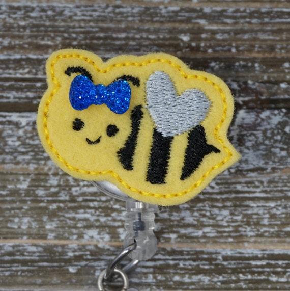 Jaune Bumble Bee de porte-Badge avec noeud, porte-Badge pédiatrie