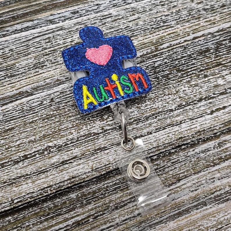Pediatric Badge Holder Puzzle Piece Badge Reel Puzzle Piece Badge Holder Blue Glitter Autism Puzzle Piece Badge Holder