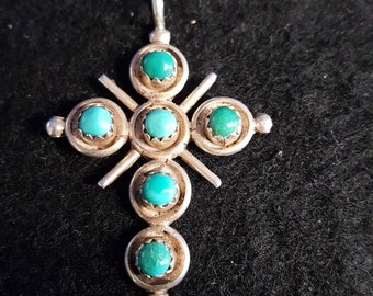 Beautiful sterling silver and turquoise Native American cross pendant