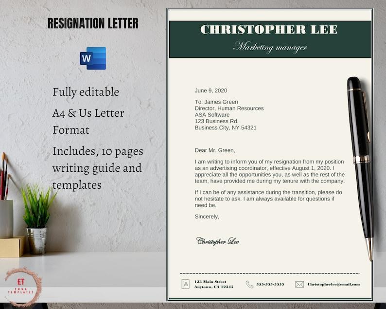 Lettre de démission en anglais Modèle davis de démission ...