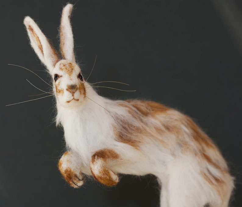 now sold Needle Felted Hare example only Snow Hare