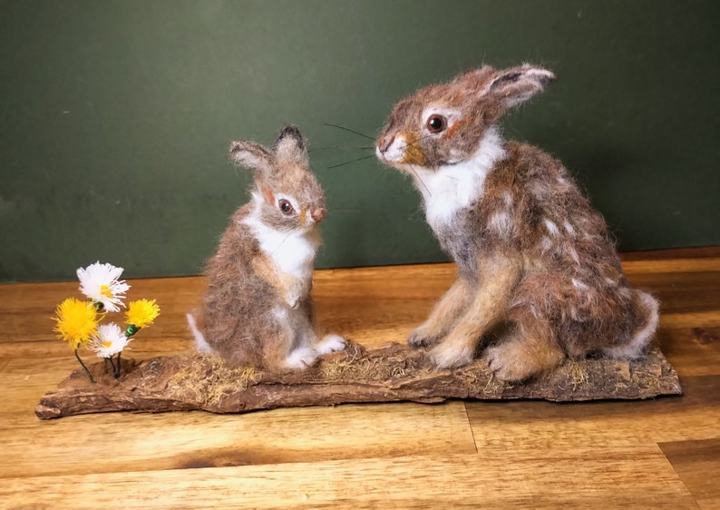 Needle Felted Cottontail Rabbits Mum and Baby Rabbit Spring image 0