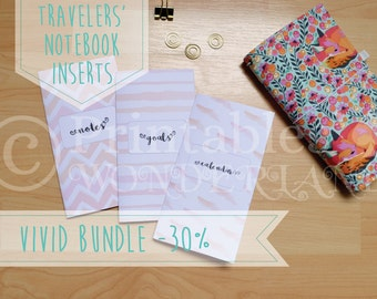 Watercolor TN inserts printable bundle - notebook covers, week on one page inserts , goal tracker and notes
