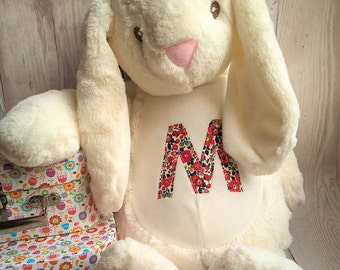 Personalised soft toy / pyjama case bunny with Liberty fabric Betsy Bunny (grey or light cream)