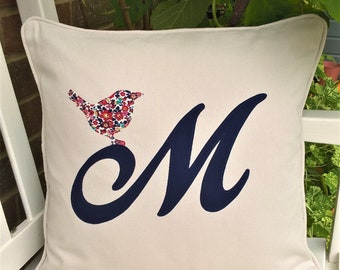 Liberty of London personalised / mongrammed cushion with applique bird