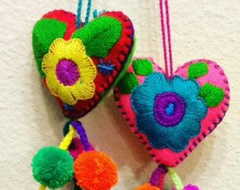 Embroidered Hearth Pom-Poms