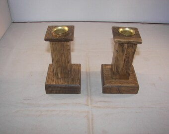 Craftsman Style Quartersawn Oak Candelstick Holders [100_1308]