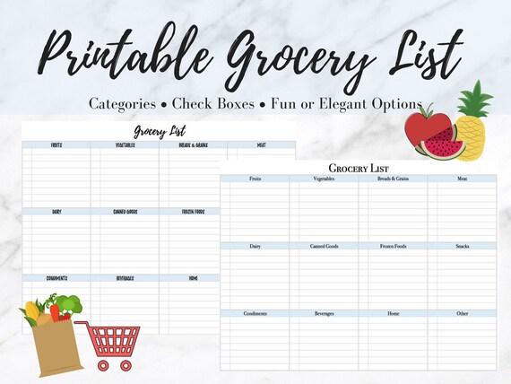 printable grocery list etsy