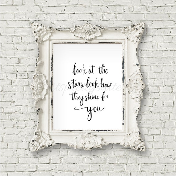 Coldplay Look At The Stars Yellow Song Quote Print Instant Etsy