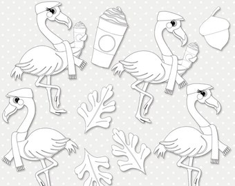 Flamingo coffee digital stamp, autumn digi stamp, scrapbooking, stamping, greeting card design, coloring, outline PNG clipart (ST032)