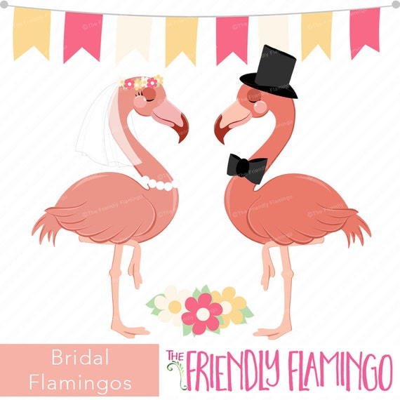 Wedding Flamingo Clip Art Bridal Couple Flamingo Clipart Etsy