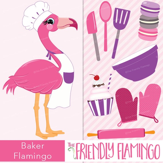 Koch Rosa Flamingo Clipart Kuche Kochen Cookie Baker Kuchen Etsy