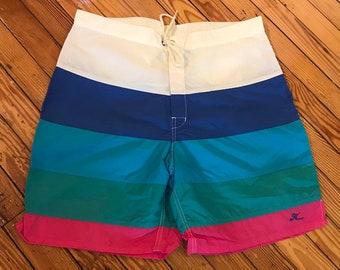 c74a51811c Hobie Boardshorts Size 36 | vintage striped mens swim shorts