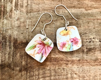 Sweet pale yellow vintage recycled China floral dangle earrings