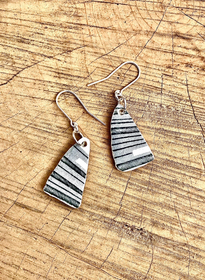 Beautiful grey striped vintage recycled ceramic China dangle earrings with sterling silver ear wires.