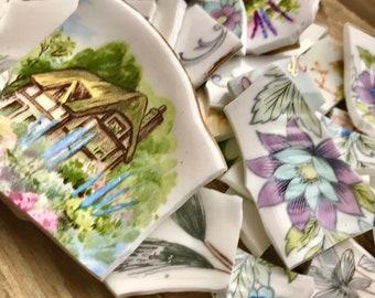 70 cottage garden  Hand cut vintage ceramic tableware tesserae. Raw materials for mosaic picassiette art jewellery making.
